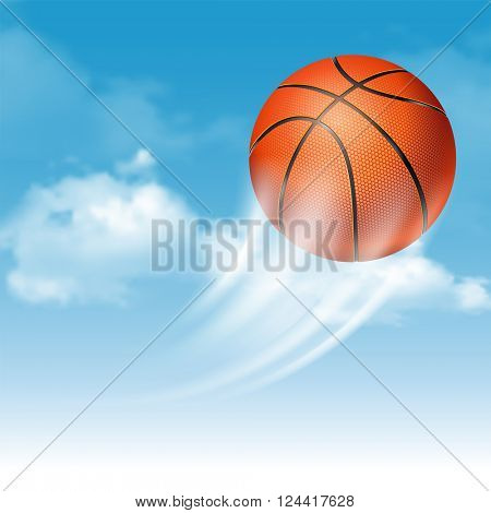 Orange Basketball Ball with Pimples Flying on Cloudy Sky Background. Realistic Vector Illustration.