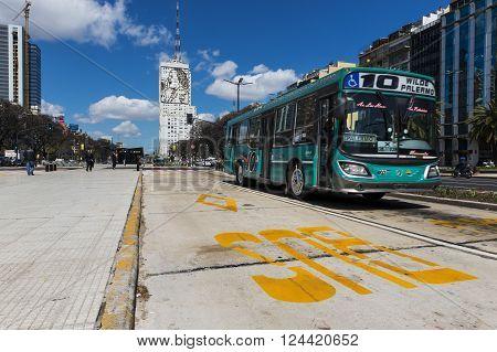Buenos Aires Argentina - October 4 2013: A public bus at the 9 de Julio Avenue in Buenos Aires Argentina.
