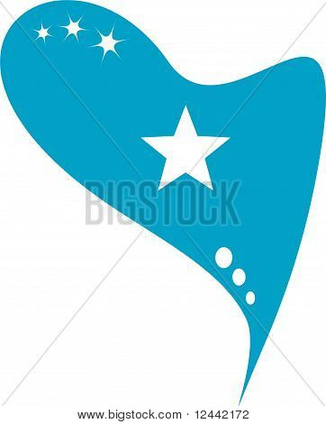 somali in heart. Icon of somali national flag