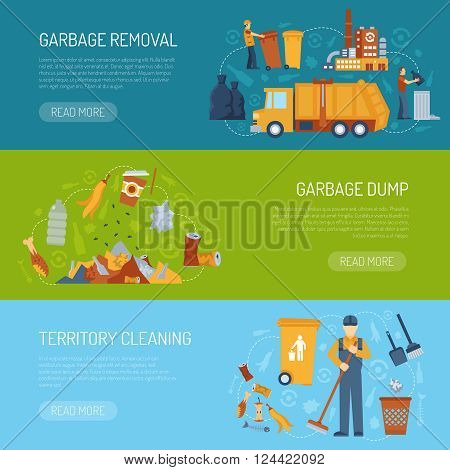 Horizontal color banner with information about territory cleaning garbage dump and removal vector illustration