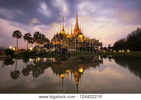 Landmark wat thai, sunset in temple at Wat None Kum in Nakhon Ratchasima province Thailand .
