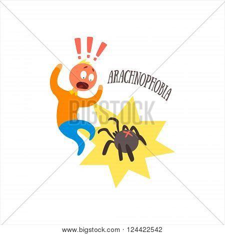 Aracnophobia Simplified Design Flat Vector Illustration On White Background