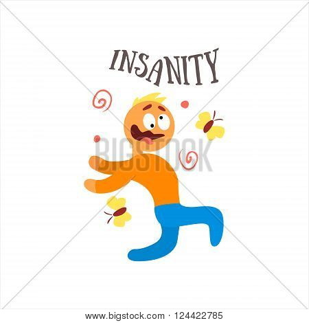 Insanity  Simplified Design Flat Vector Illustration On White Background