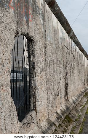 Remains of Berlin Historical wall dividing West and East Berlin during the cold war in Germany