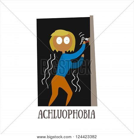 Achluophobia Simplified Design Flat Vector Illustration On White Background