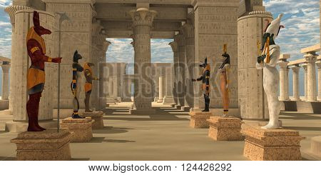 Temple of Ancient Pharaohs 3D illustration - A pharaoh's temple to worship Egyptian gods Seth Ra Anubis Hathor Osiris and Bast.