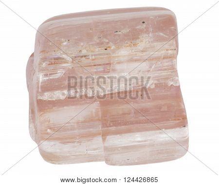Rose tourmaline crystal macro isolated on white backround