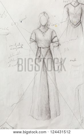 sketch of mystical woman  in beautiful ornamental dress  inspired by middle age design