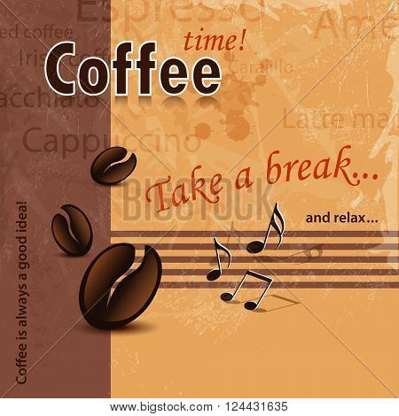 Coffee time background retro with words - coffee shop, coffee bar and coffee menu template