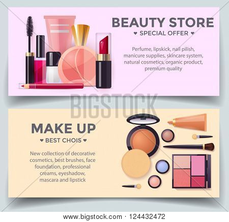 Decorative cosmetics poster template with lipstick, mascara, perfume and make up products, detailed vector illustration