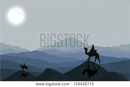 Caravan with camels in desert with dunes on background. Vector illustration