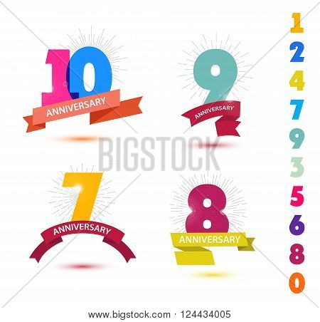 Vector set of anniversary numbers design. 10, 9, 7, 8 icons, compositions with ribbons. Colorful with shadows on white background isolated