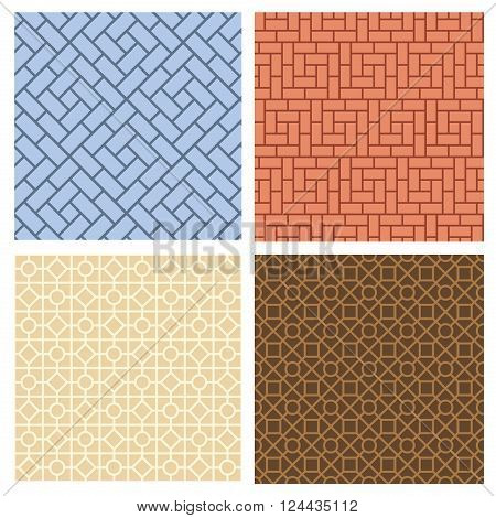Set of seamless pavement pattern in korean style vector