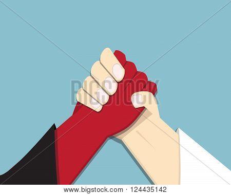 Evil vs God arm wrestling promise competition vector poster