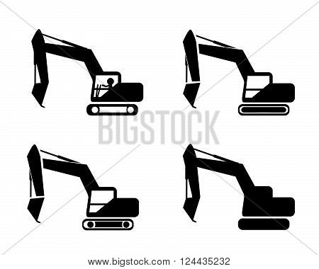 Set of excavator in silhouette symbol style vector