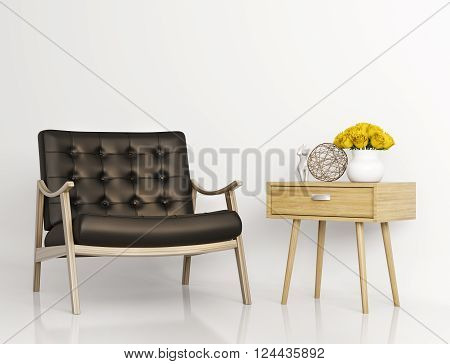 Armchair And Side Table 3D Rendering