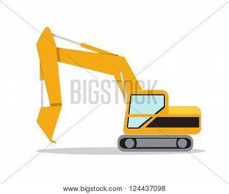 Illustration of excavator on white background vector