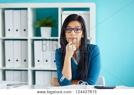 Beautiful Woman With Glasses Working In Modern Office