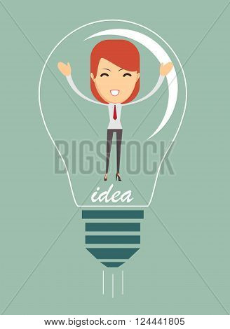 Businesswoman covered with creative idea, in the form of light bulbs, vector illustration