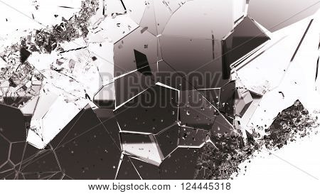 Shattered Or Cracked Glass Pieces On White