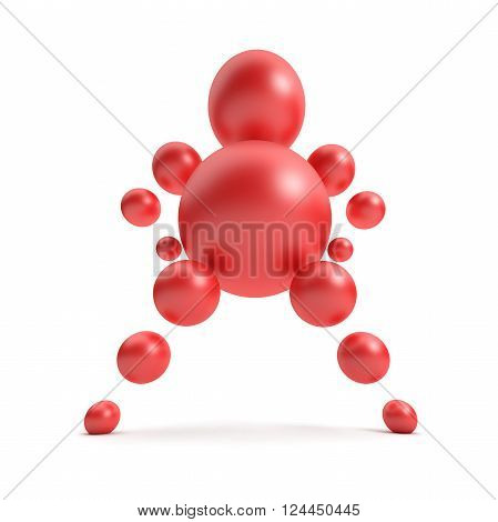 3D abstract Ballman character on a white background