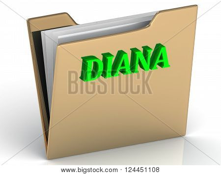 3D illustration DIANA- bright green letters on gold paperwork folder on a white background