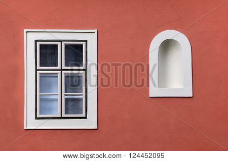 Closed window with wall niche (Budapest Hungary)