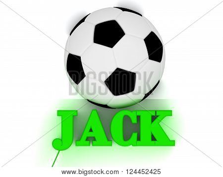3D illustration JACK bright volume letter word football big ball on white background