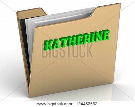 3D illustration KATHERINE- bright green letters on gold paperwork folder on a white background