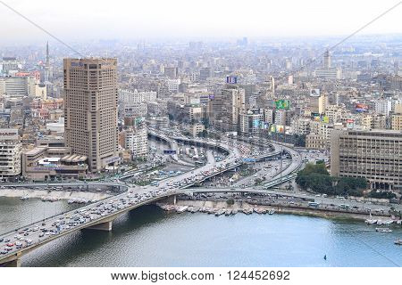 CAIRO EGYPT - FEBRUAR 25: Cairo city from tower on FEBRUAR 25 2010. City and bridge at River Nile in Cairo Egypt.