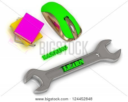 3D illustration LEARN bright volume letter on silver instrument textbooks and computer mouse on white background