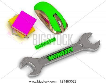 3D illustration MOBILITY bright volume letter on silver instrument textbooks and computer mouse on white background