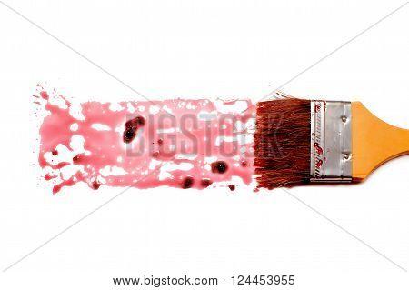 paint brush and dab of raspberry jam. splashes of raspberry jam. texture. sample and brush isolated on white background