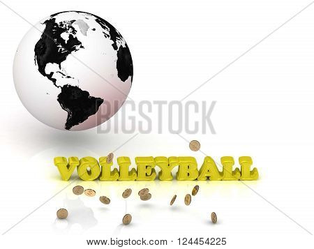 VOLLEYBALL bright color letters black and white Earth on a white background