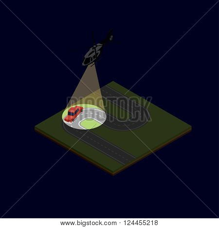 Vector isometric illustration of a helicopter chase after the car with the offender on the night suburban road