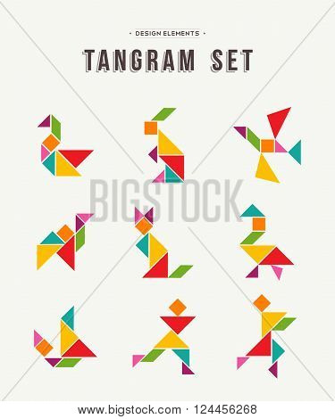 Colorful set of tangram game icons made with geometry shapes in abstract style includes animals and people. EPS10 vector.