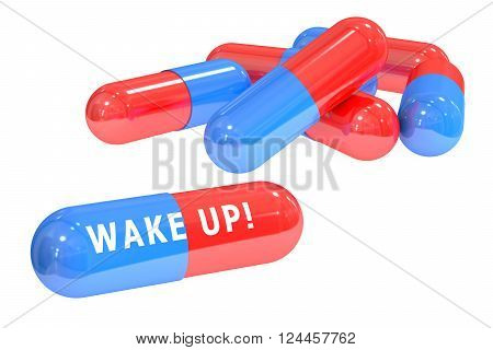 Wake up! pills concept with pills 3D rendering isolated on white background