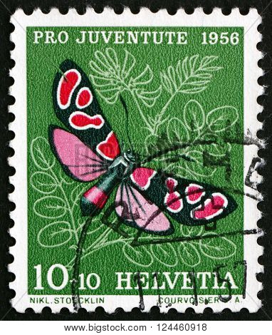 SWITZERLAND - CIRCA 1956: a stamp printed in the Switzerland shows Burnet Moth Insect circa 1956