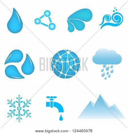 Blue water and conservation icon set on white background