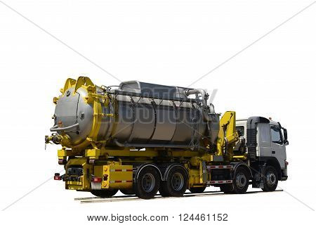Emergency  Vacuum truck  for oil spill refinery oil and  petrochemical  industrial ,on white background.