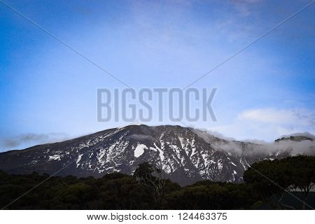Kilimanjaro top view Highest mountain in Africa ** Note: Visible grain at 100%, best at smaller sizes