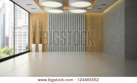 Interior of empty room with wooden wall panel 3D rendering