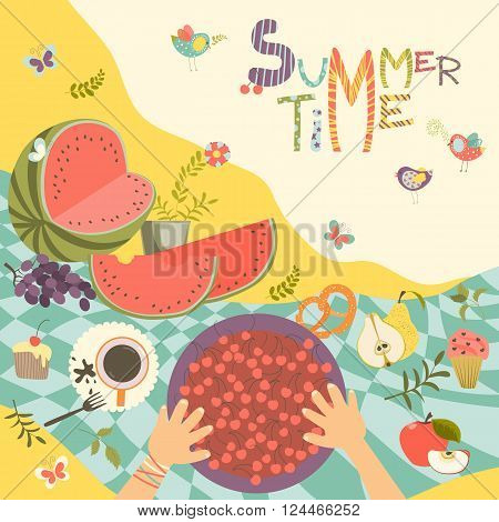 Picnic with summer fruits and berries on the tablecloth