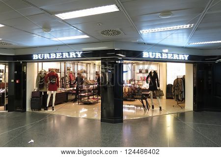 LINATE ITALY - CIRCA JANUARY 2016: Burberry brand store at the airport of Milano Linate