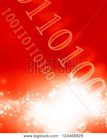 Bits and bytes on a soft glowing red background