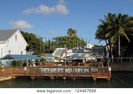 KEY WEST, FL - OCTOBER 24, 2015: The historic Key West Aquarium is one of the premier attractions in the quaint island town in the Florida Keys October 24, 2015 in Key West, FL.
