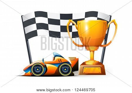 illustration of cup formula and flag on white background