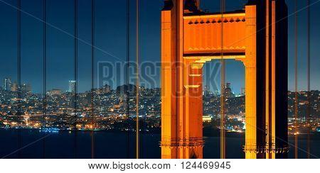 Golden Gate Bridge in San Francisco with city skyline