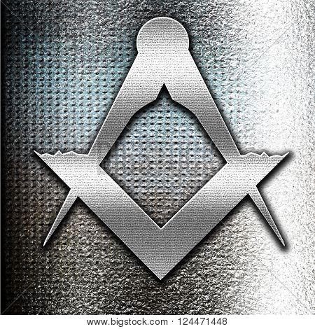 Grunge metal Masonic freemasonry symbol with some soft smooth lines