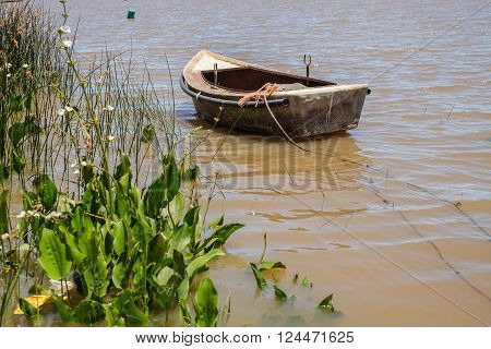 Small leisure boat used by local fisherman at Juan Lacaze's harbour, Colonia, Uruguay